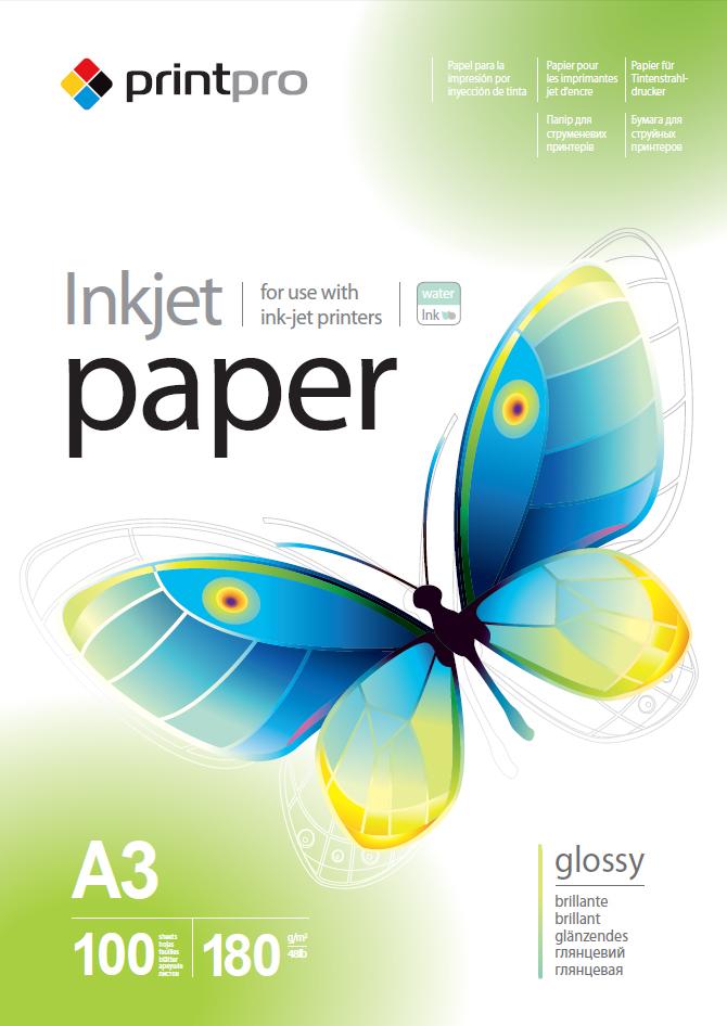 PrintPro Fotopapier PP Vysoko lesklý 180g/m²,100ks,A3