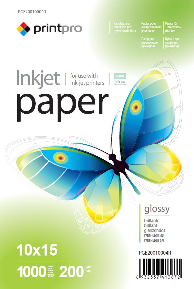 PrintPro Fotopapier PP Vysoko lesklý 200g/m²,1000ks,10x15