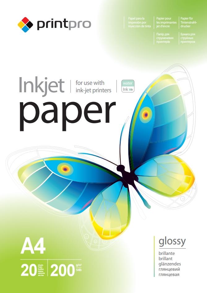 PrintPro Fotopapier PP Vysoko lesklý 200g/m²,20ks,A4
