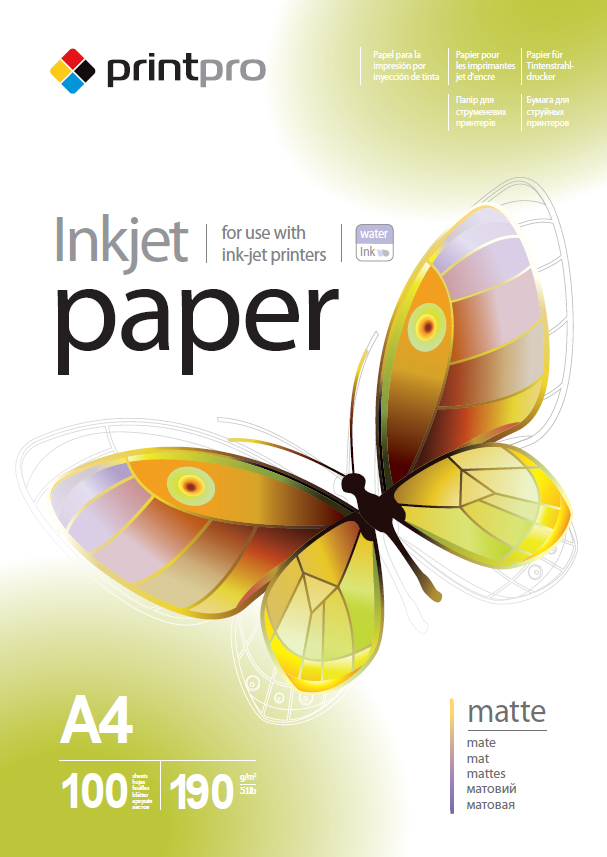 PrintPro Fotopapier PP matný 190g/m²,100ks,A4