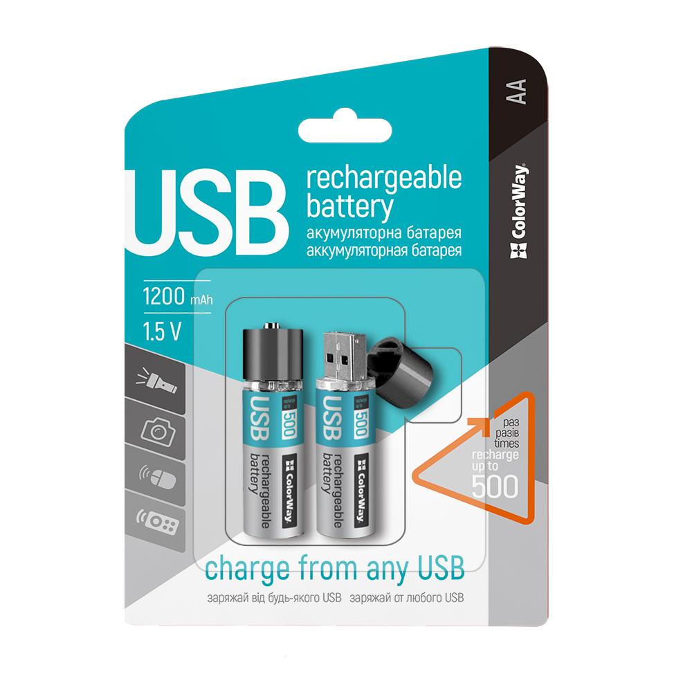 Nabíjateľné batérie ColorWay AA USB 1200mAh 1.5V - 2+1 zadarmo