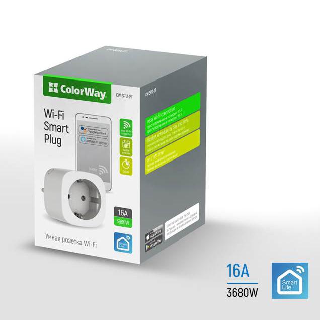 Smart WiFi zásuvka ColorWay CW-SP1A-PT (plánovač,časovač)