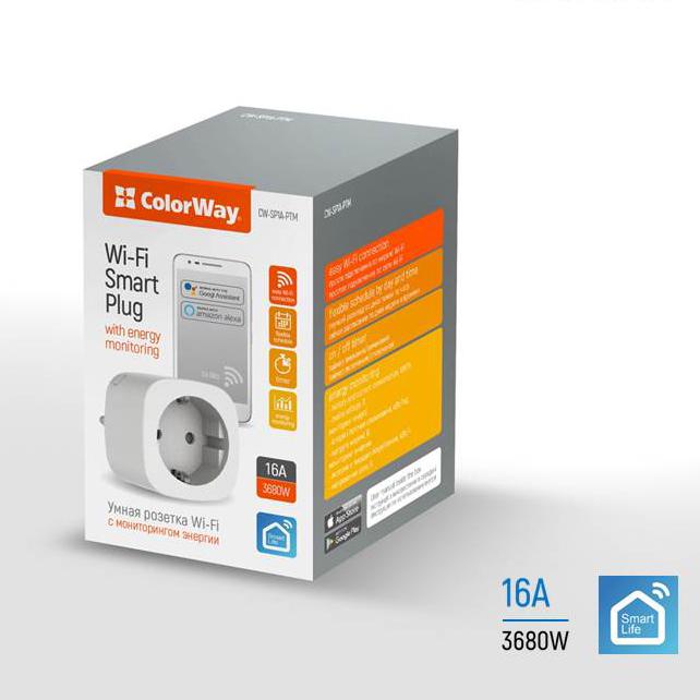 Smart WiFi zásuvka ColorWay CW-SP1A-PTM (merač spotreby,plánovač,časovač)