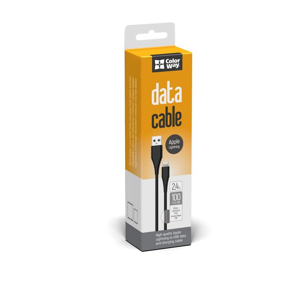 Kábel ColorWay USB Apple Lightning (PVC) 2.4A 1m - black