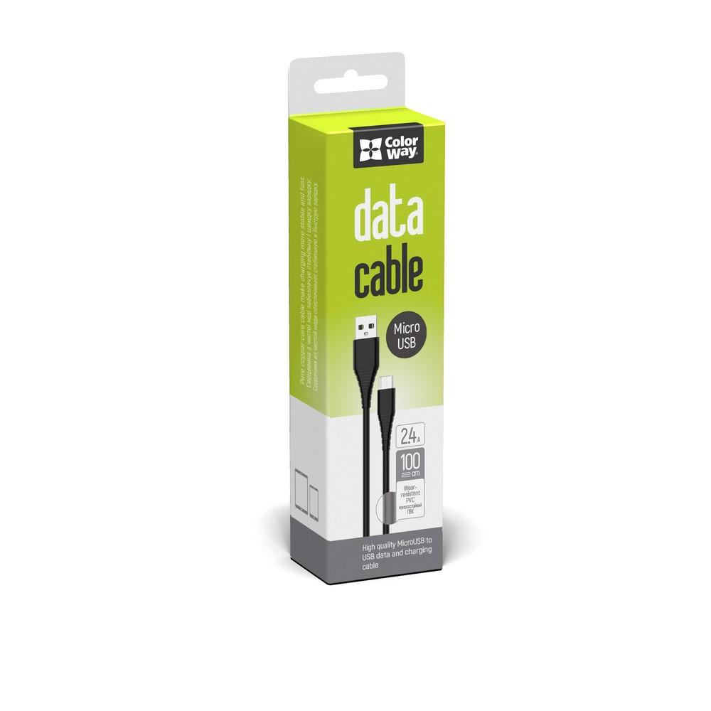 Kábel ColorWay USB MicroUSB (PVC) 2.4A 1m - black
