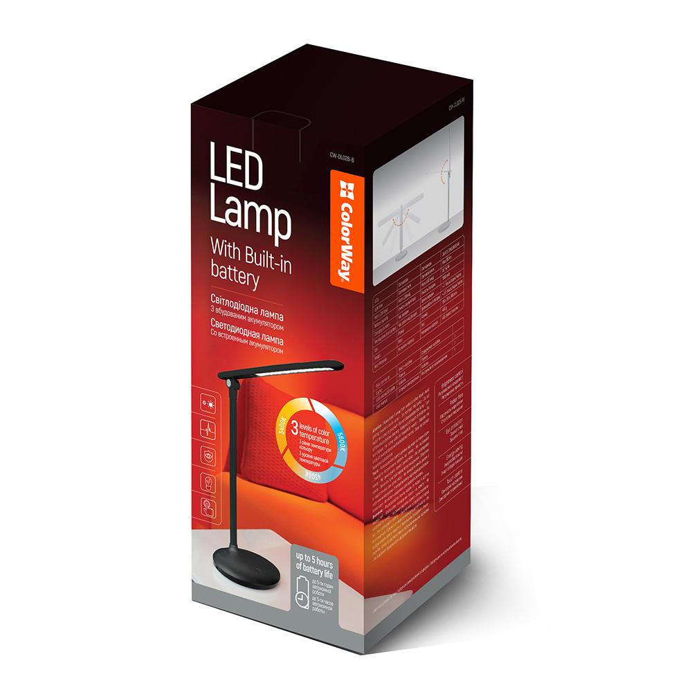 ColorWay LED stolná lampa CW so zabudovanou batériou CW-DL02B-B - čierna