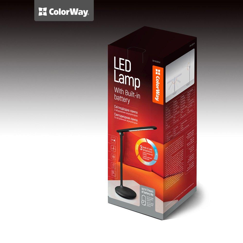 LED stolná lampa ColorWay so zabudovanou batériou CW-DL02B-B - čierna