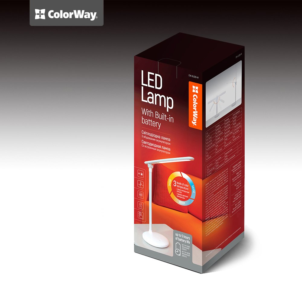 LED stolná lampa ColorWay so zabudovanou batériou CW-DL02B-W - biela