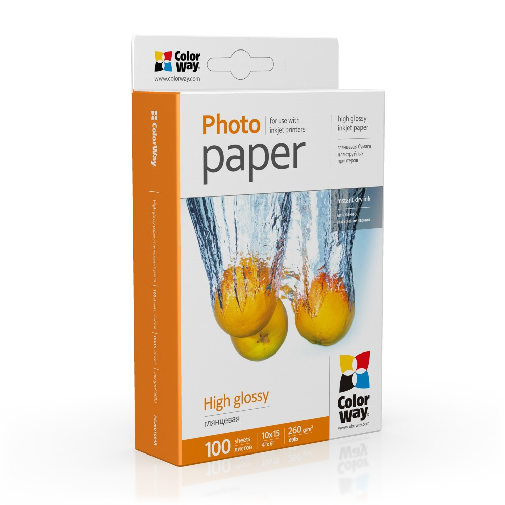 ColorWay Fotopapier CW Vysoko lesklý 260g/m²,100ks,10x15