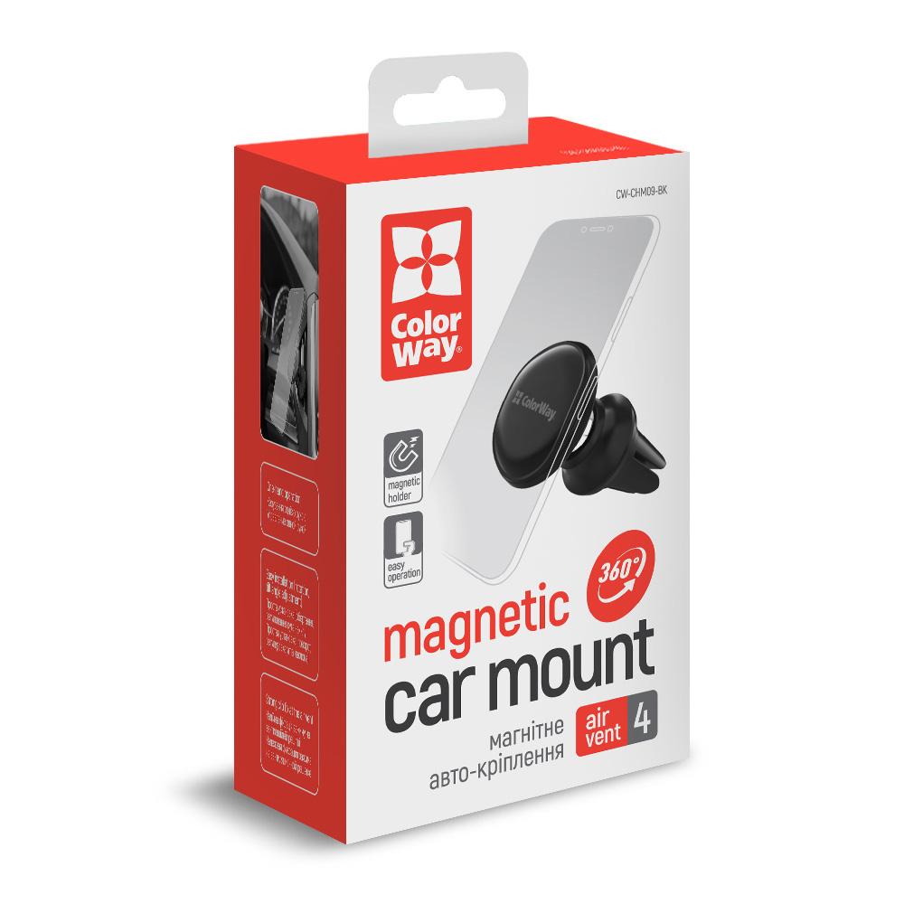 Držiak do auta ColorWay magnetický Metallic Air Vent-4 (360° rotácia) - čierny