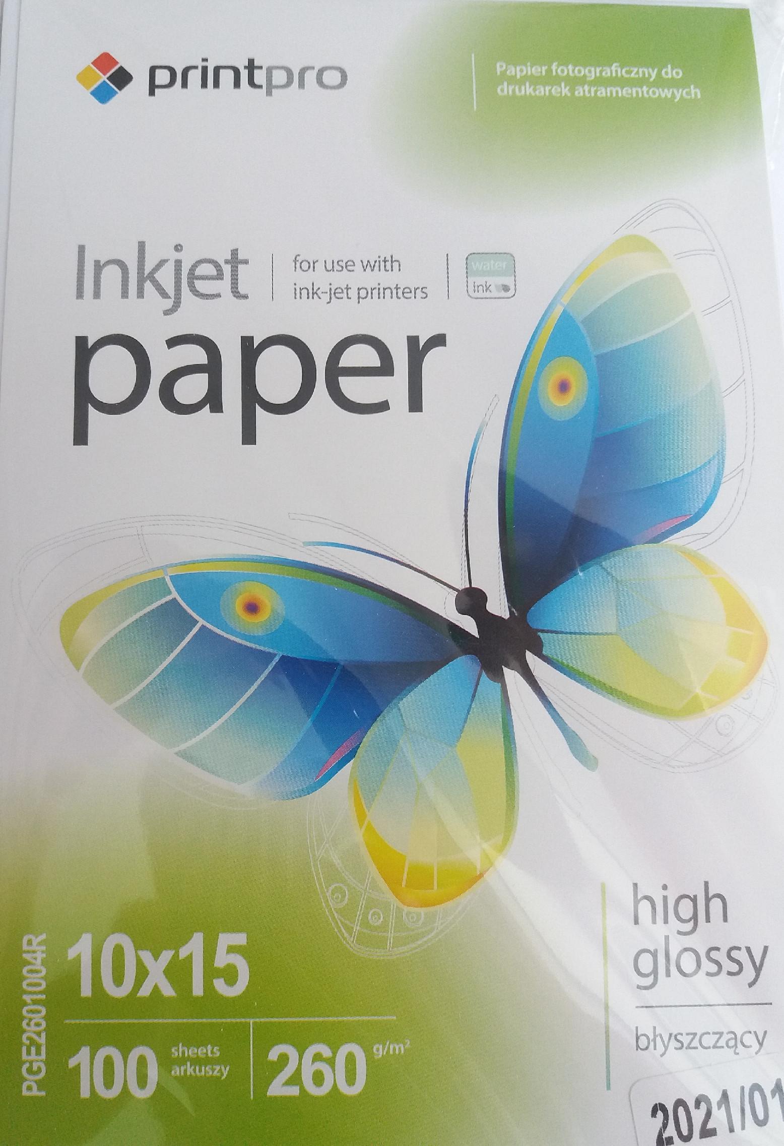 PrintPro Fotopapier PP Vysoko lesklý 260g/m²,100ks,10x15