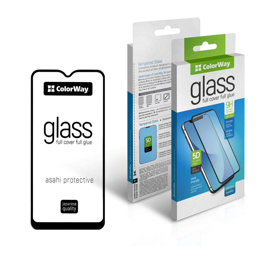 Tvrdené sklo 9H ColorWay Full Cover & Glue Apple iPhone 12/12 Pro- čierne