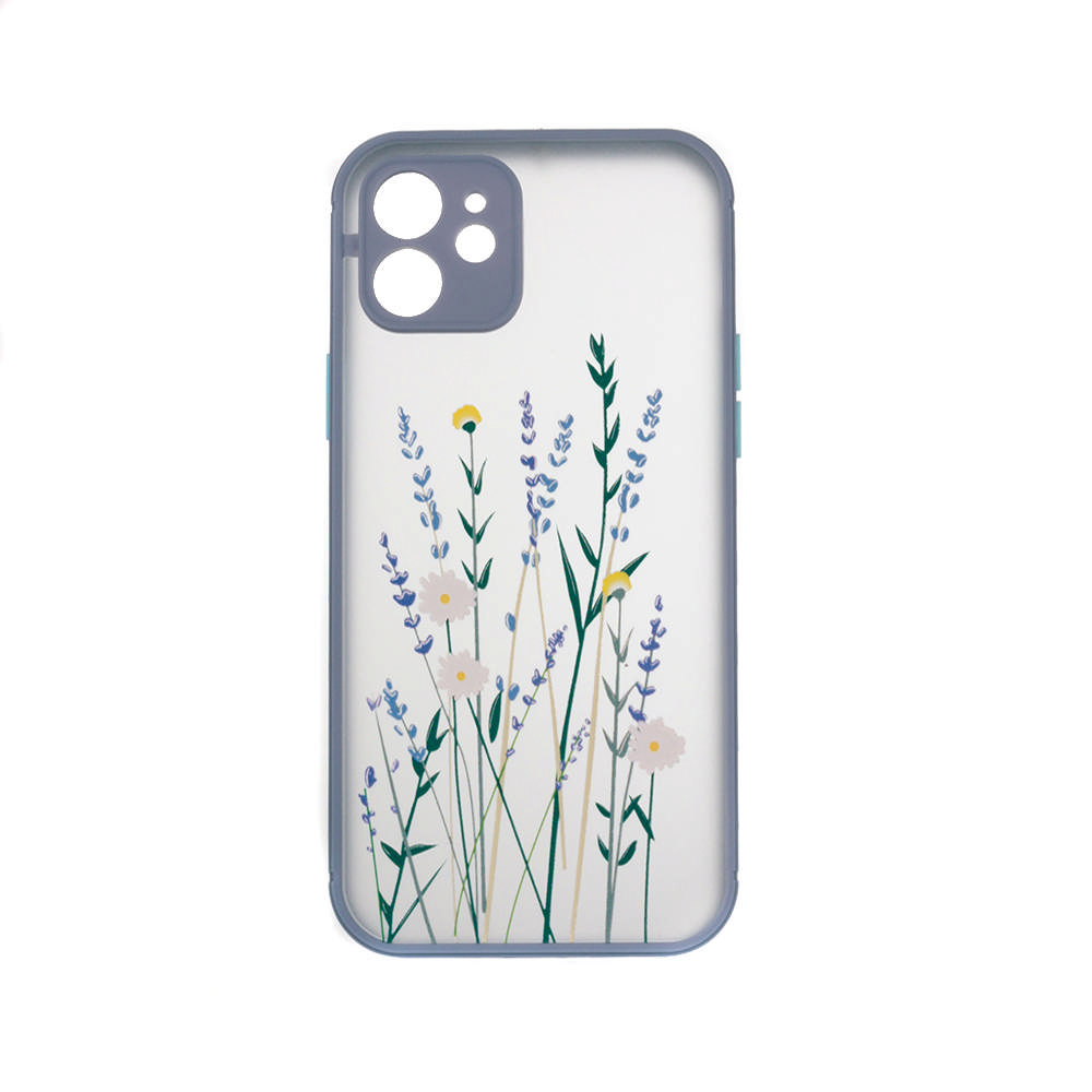 Puzdro ColorWay Smart Matné pre Apple iPhone 12 -  Flowers - fialové