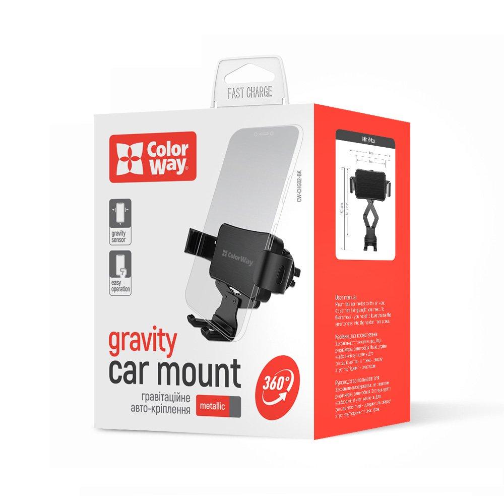 Držiak do auta ColorWay Metallic Gravity-2 pre smartfóny - čierny