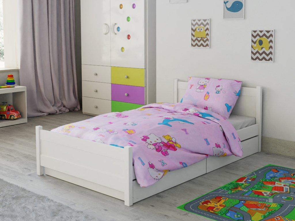Lenjerie de pat bumbac pentru pătut Hello Kitty