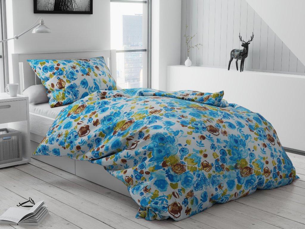 Lenjerie de pat creponată Mac albastru