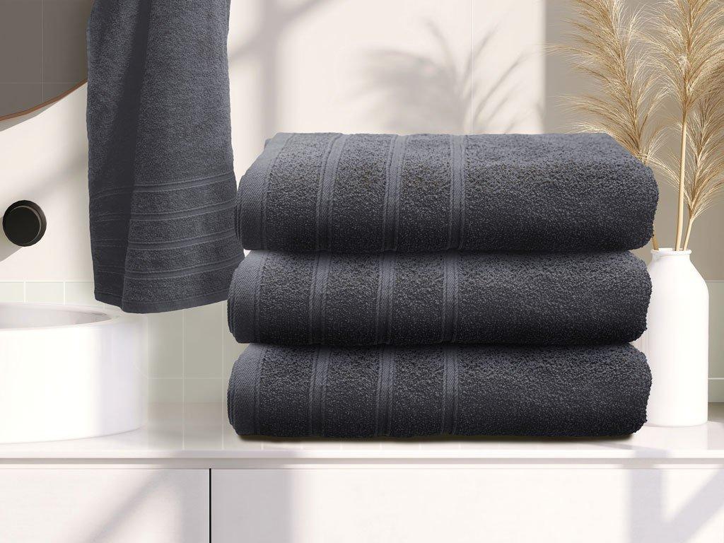 Osuška bavlněná 70 x 140 cm šedá antracit