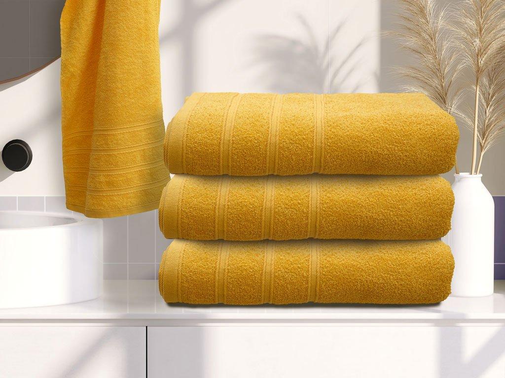 Osuška bavlněná 70 x 140 cm žlutá