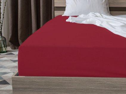prostěradlo bavlněné jersey žerzejové dvoulůžko 140 x 200 cm vínové červené