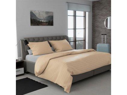 Lenjerie de pat pentru hoteluri atlas grádl sampanie - bandă 2,5 cm bumbac pieptănat