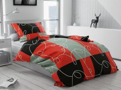Lenjerie de pat bumbac Pătrate rosie