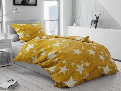 Lenjerie de pat bumbac Star galbenă
