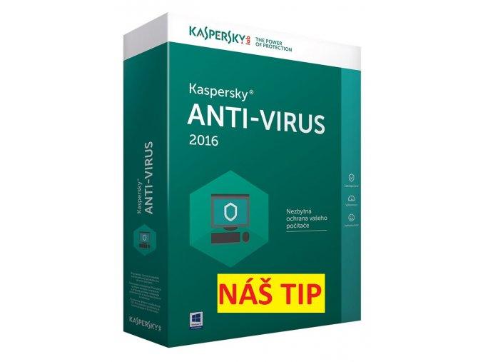 Kaspersky Antivirus 2016 pro 2 počítače na 12 měsíců