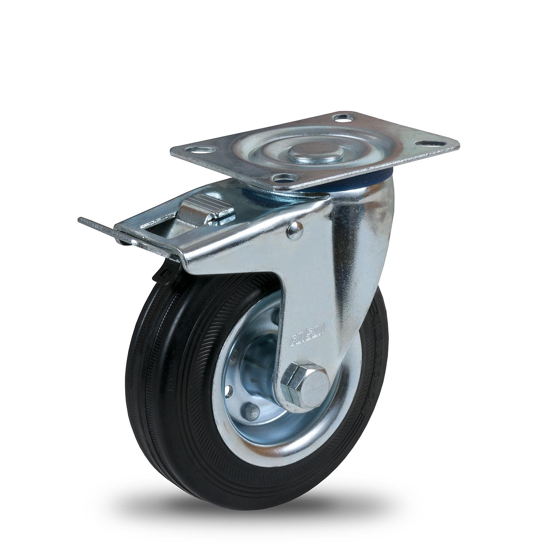 Kola s běhounem z černé gumy a kovovým diskem série SM