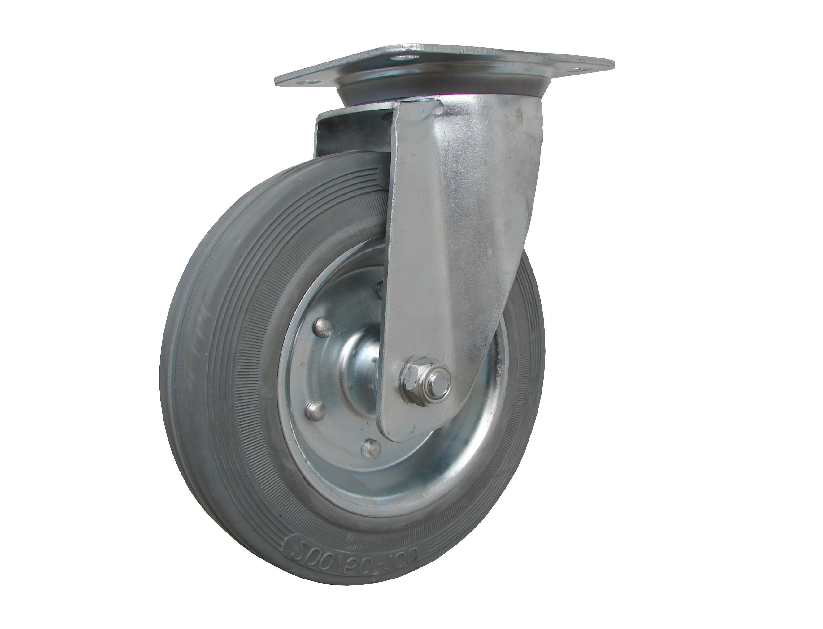 Kolečka otočná, šedá pryžová, kovový disk serie 64 000