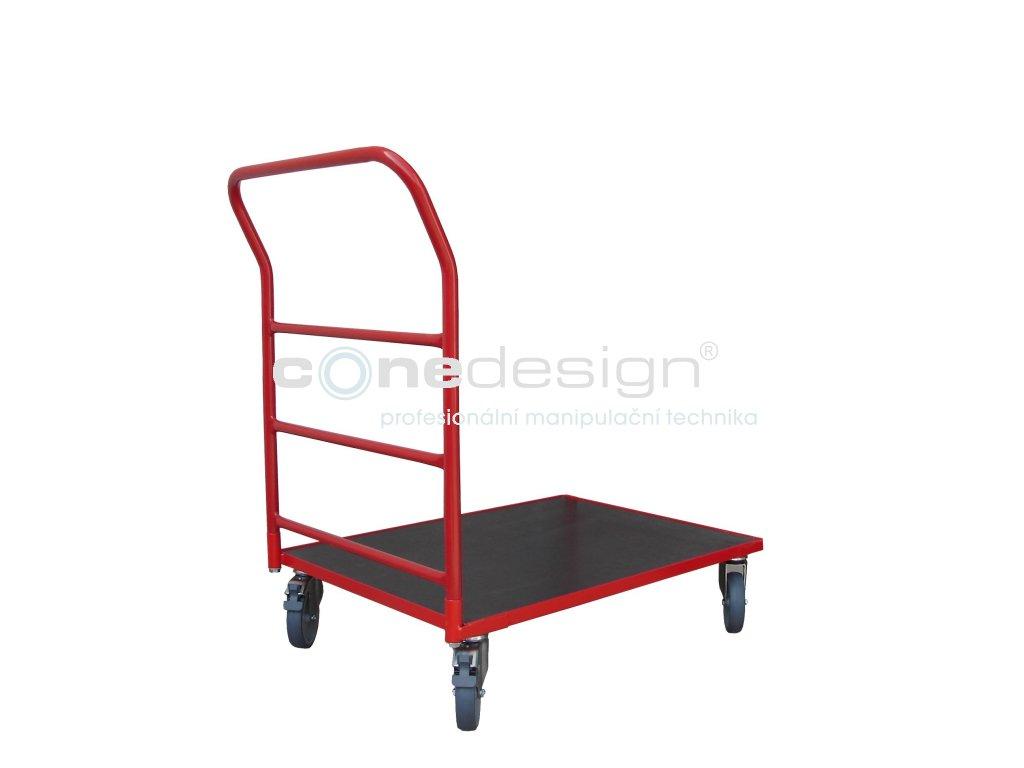 Plošinový vozík 800 x 600 1 x madlo s vodorovnými příčkami 150 kg 51035-03