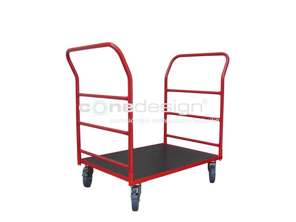 Plošinový vozík 800 x 600 2 x madlo s vodorovnými příčkami 150 kg 51035-02
