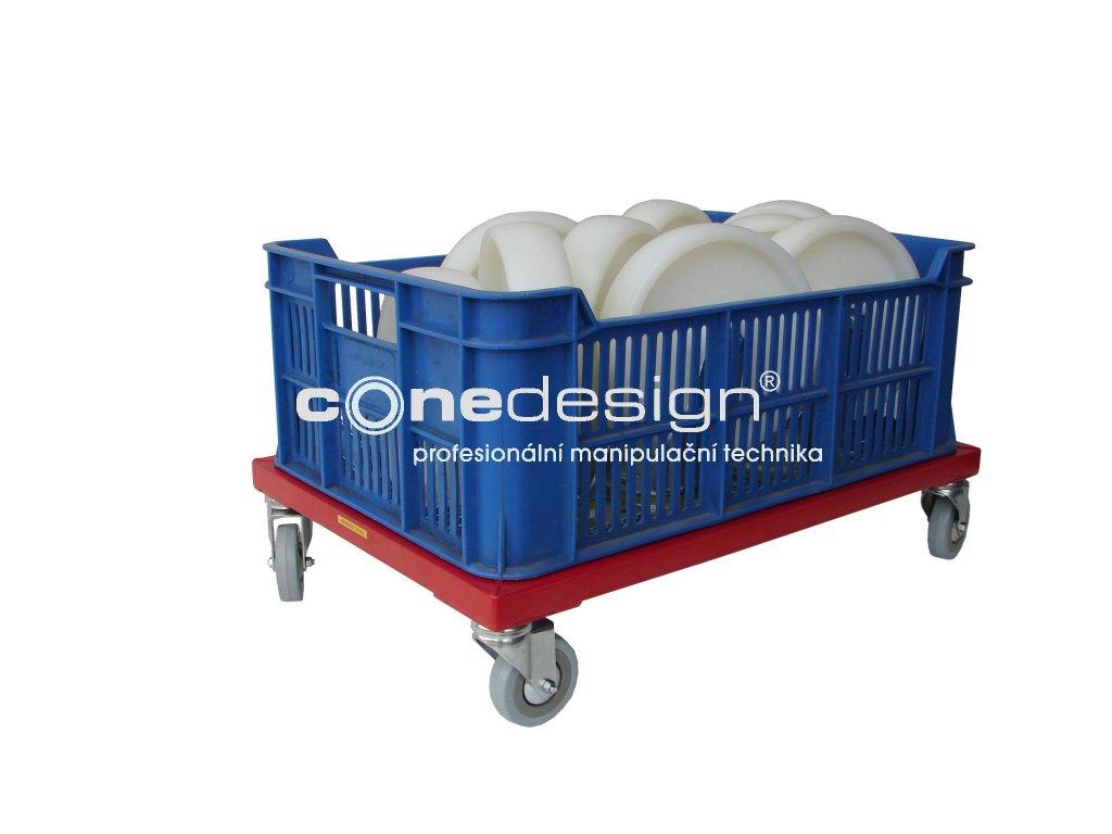 Plošinový vozík bez madla pro 1 plastovou přepravku 150 kg 51007-05