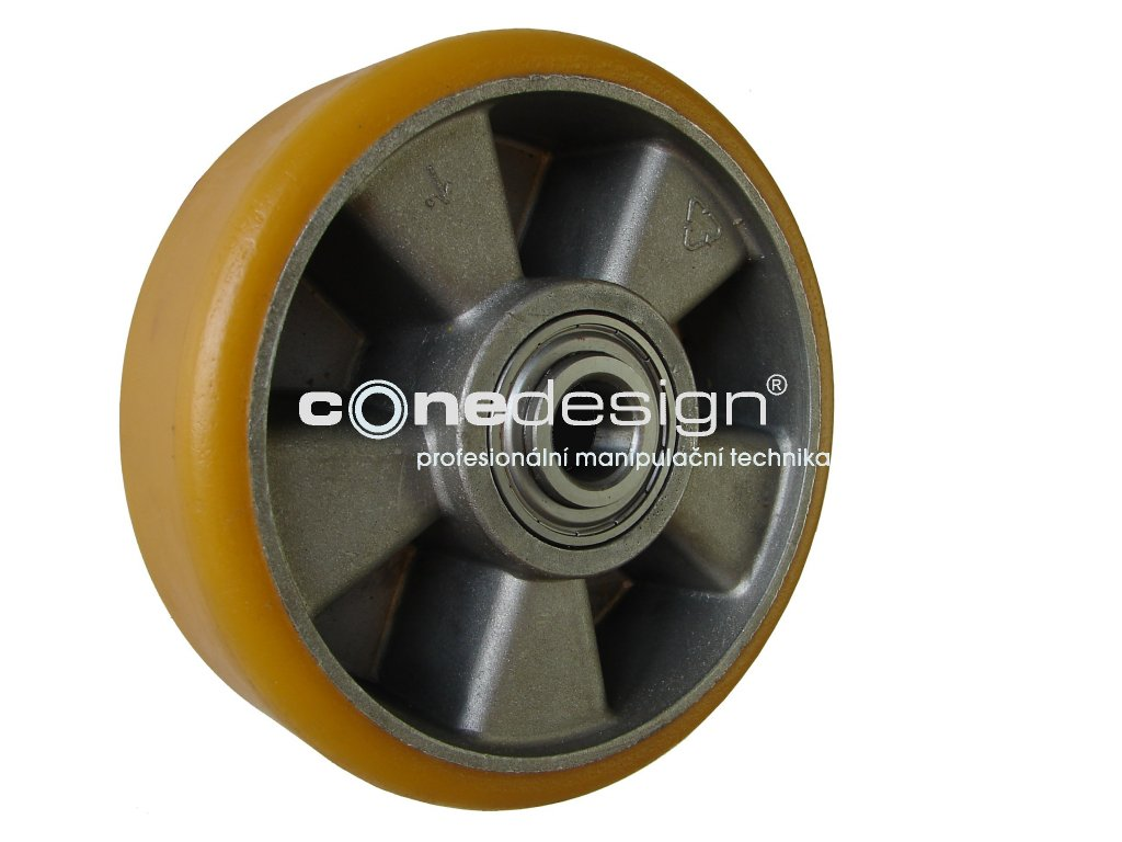 Kolečko přední hliníkový střed polyuretanová obruč průměr 200 mm 400 kg 14200-11
