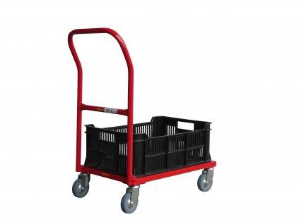 Plošinový vozík s madlem pro 1 plastovou přepravku 150 kg 51006-10