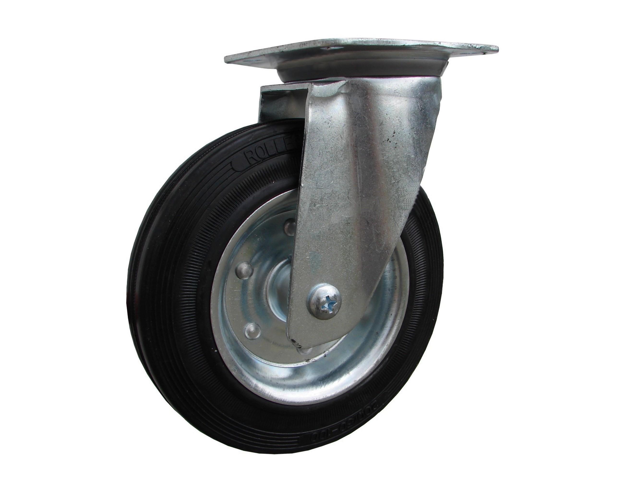 Kolieska otočná, čierna gumová, kovový disk serie 31 000