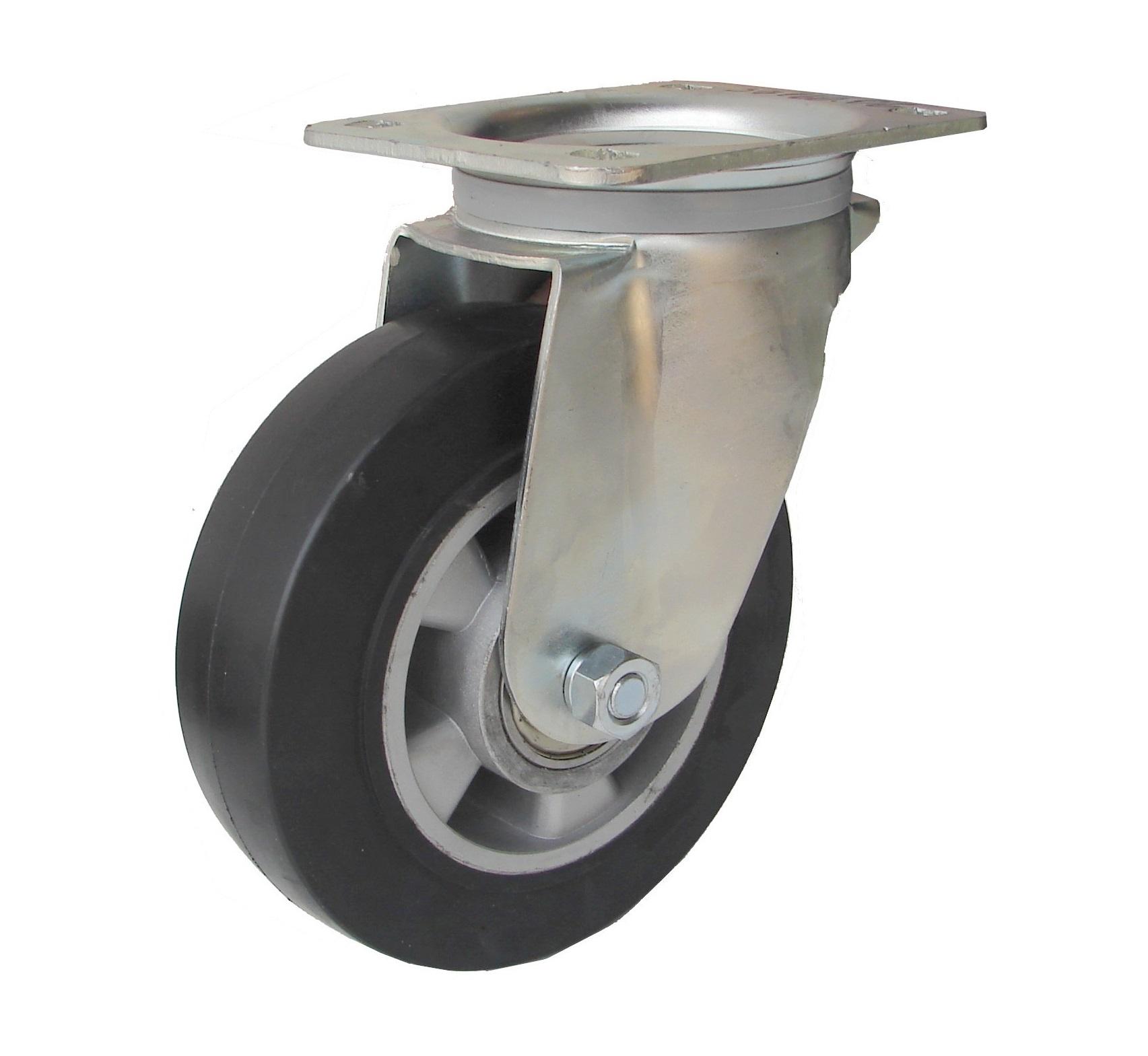 Kolieska otočné, gumená, hliníkový disk serie 37 000