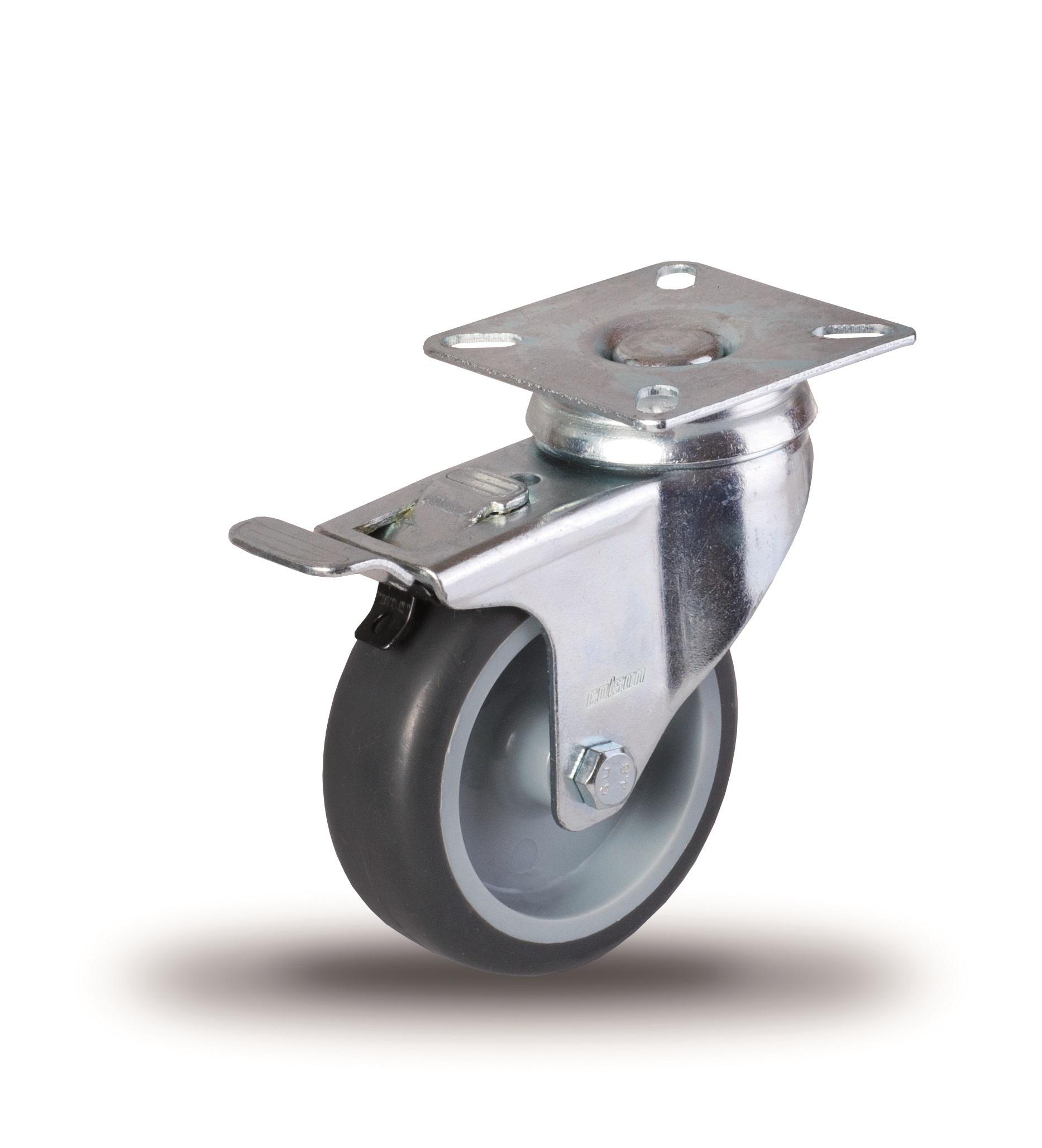 Kolieska otočná, šedá guma, plastový disk séria JD-BD