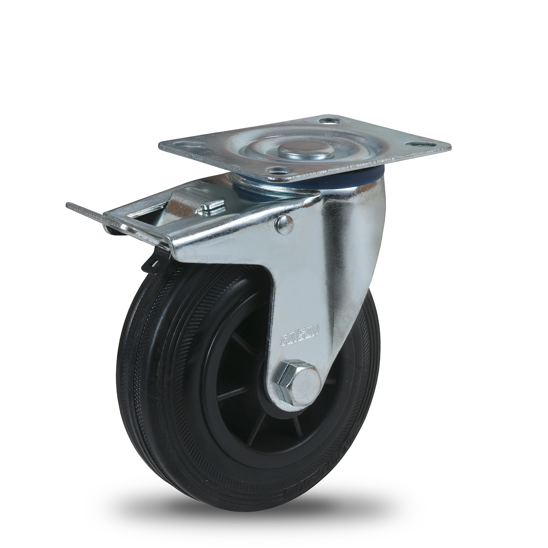 Kolesá s behúňom z čiernej gumy a plastovým diskom série PM