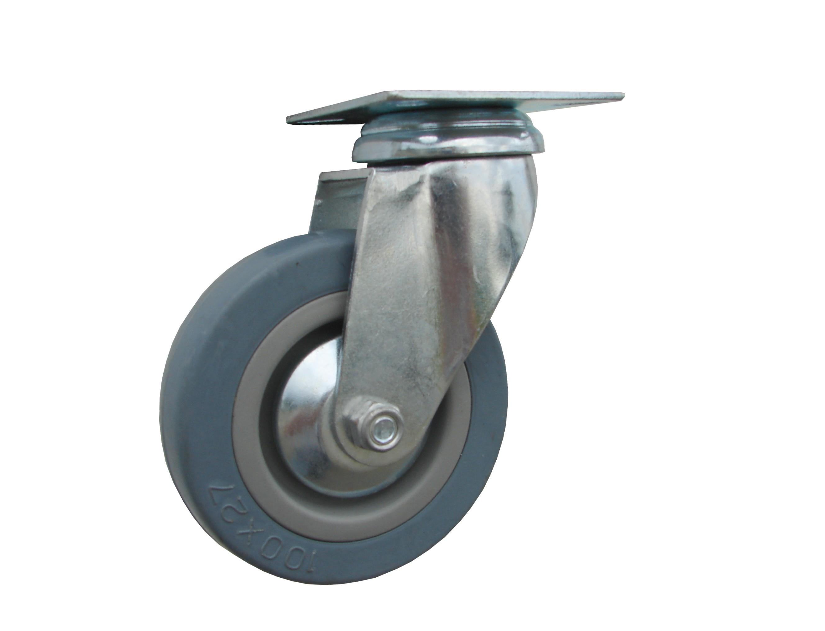 Kolieska otočná, sivá gumená, plastový disk serie 59000