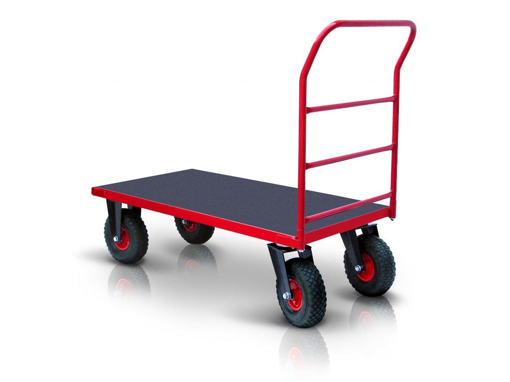 Plošinový vozík 1 X madlo s vodorovnými priečkami PROFI s nafukovacími kolesami 52608-15