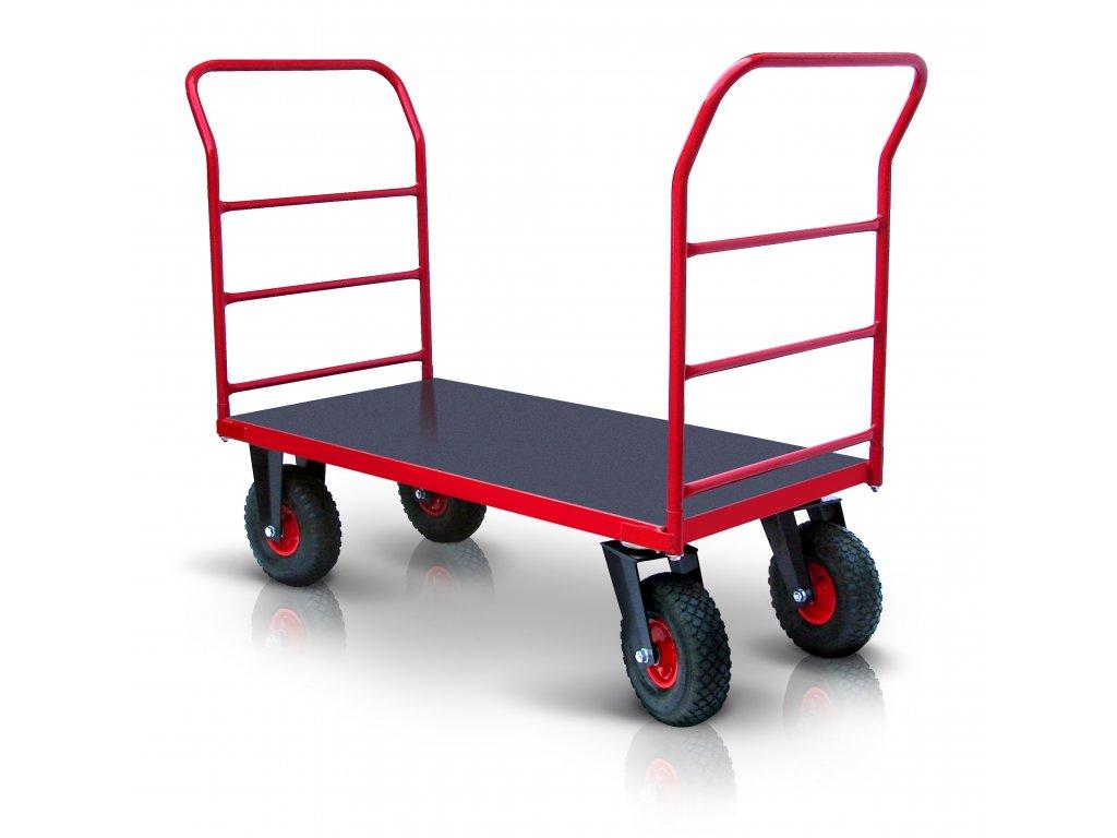 Plošinový vozík 2 X madlo s vodorovnými priečkami PROFI s nafukovacími kolesami 52608-16