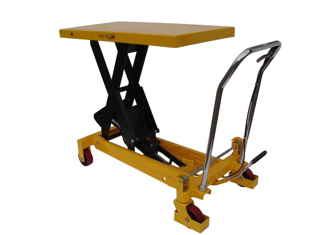 Pojazdný zdvíhací stôl 150 kg, 700 x 450 mm zdvih 1100 mm