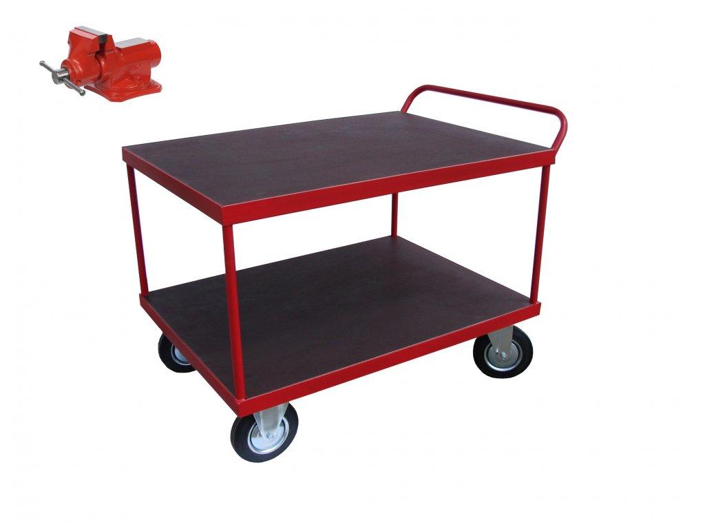 Policový vozík - MOBILNÍ PONK 2 police 2 x 200 kg PROFI 60002-21 (Typ kola Nafukovací)