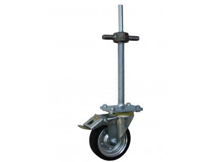 Kolečko otočné pro lešení s výškovou regulací s brzdou 11501-04 (Průměr kola(mm) 200, Nosnost(kg) 250, Celková výška(mm) 738.)