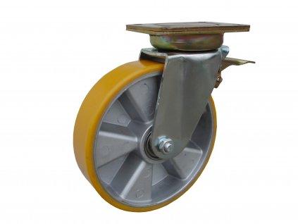 kolečko otočné s brzdou včetně brzdy otoče, polyuretanová obruč 35160-09 (Průměr kola (mm) 250, Nosnost (kg) 1500, Rozteč otvorů (mm) 160 x 120)