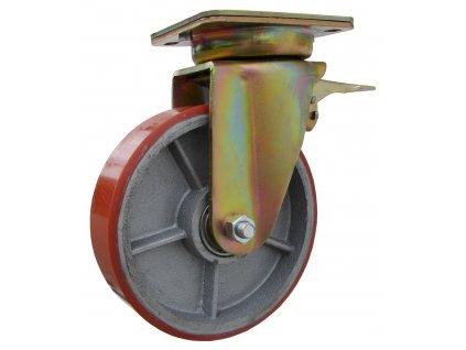 Kolečko otočné s brzdou včetně brzdy otoče, polyuretanová obruč 39180-09 (Průměr kola (mm) 250, Nosnost (kg) 1500, Rozteč otvorů (mm) 160 x 120)