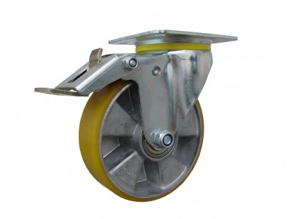 kolečko otočné s brzdou včetně brzdy otoče, polyuretanová obruč 55125-09 (Průměr kola (mm) 200, Nosnost (kg) 300, Rozteč otvorů (mm) 107 x 80)