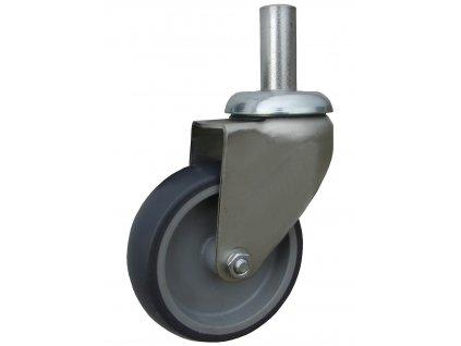 Kolečko otočné s hladkým čepem, termoplastická guma 40080-44 (Průměr kola(mm) 125, Nosnost(kg) 100, Celková výška(mm) 160)