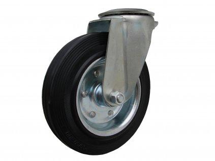 Kolečko otočné s otvorem, černá pryž 31100-23 (Průměr kola(mm) 200, Nosnost(kg) 205, Celková výška(mm) 232)