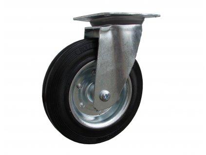 Kolečko otočné s přírubou, černá pryž 31100-04 (Průměr kola (mm) 200, Nosnost (kg) 205, Rozteč otvorů (mm) 105 x 80/75)